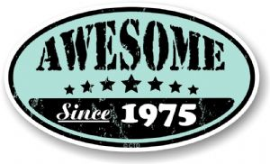 Distressed Aged Awesome Since 1975 Oval Design External Vinyl Car Sticker 70x120mm